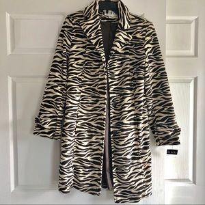 NWT Faux Fur Zebra Print Long Jacket
